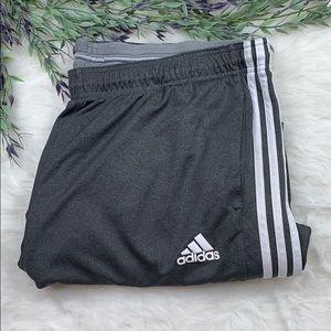 Adidas Three Stripe Gray Logo Track Pants